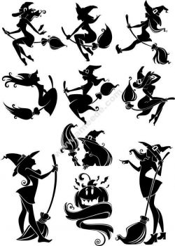 images of witches and brooms file .cdr and .dxf free vector download for printers or laser engraving machines