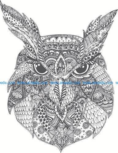 pattern of bird head cat owl