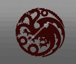 Game of Thrones Targaryen logo file 3d .stl and .bmp free vector download for CNC