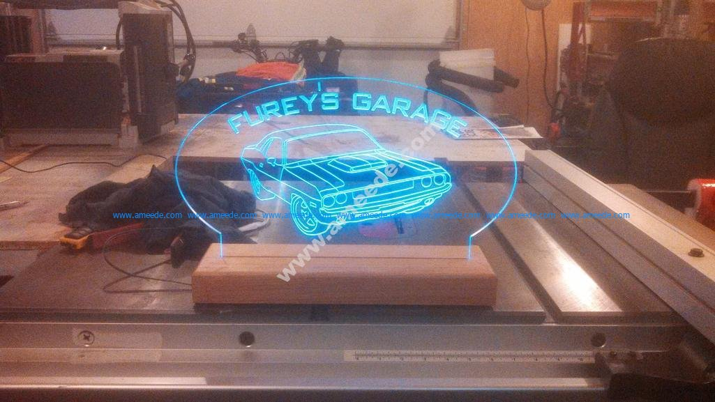 Furrys Garage Challenger dxf oto 3d illusion lamp