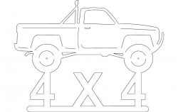 Car 4X4P up file cdr and dxf free vector download for Laser cut plasma