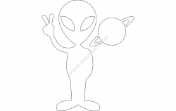 Alien with Planet file cdr and dxf free vector download for Laser cut plasma