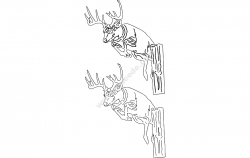 Deer Head Silhouette file .cdr and .dxf free vector download for Laser cut plasma