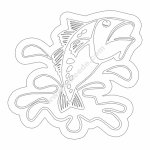 Fish Splash file cdr and dxf free vector download for printers or laser engraving machines