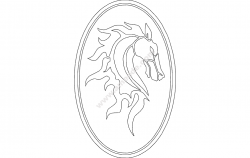 Horse Head in Oval Frame file cdr and dxf free vector download for printers or laser engraving machines