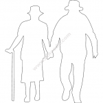 Old Man and Woman Walking file cdr and dxf free vector download for Laser cut Plasma file Decal