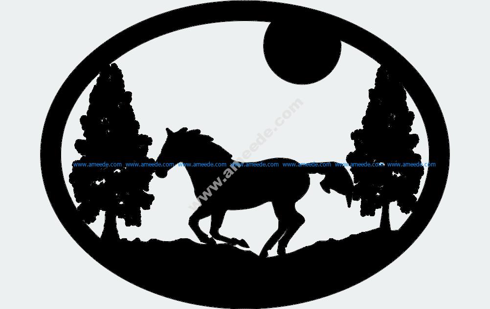 Oval Horse Trees Moon