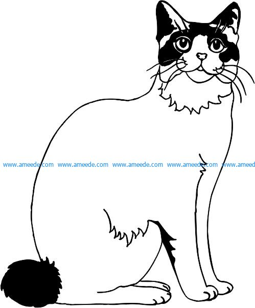 Sitting Cat file .cdr and .dxf free vector download for Laser cut plasma
