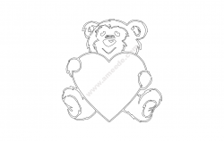 bear and heart file cdr and dxf free vector download for printers or laser engraving machines