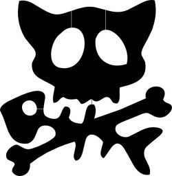 cat skull and crossbone file .cdr and .dxf free vector download for Laser cut plasma