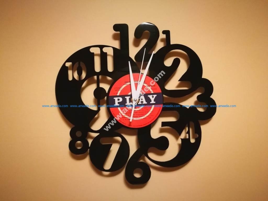 Orologio Vinile Cerchi Numeri Clock