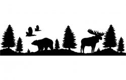 bear and moose file cdr and dxf free vector download for printers or laser engraving machines
