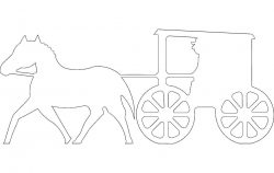 Horse Buggy Silhouette file cdr and dxf free vector download for Laser cut plasma file decal