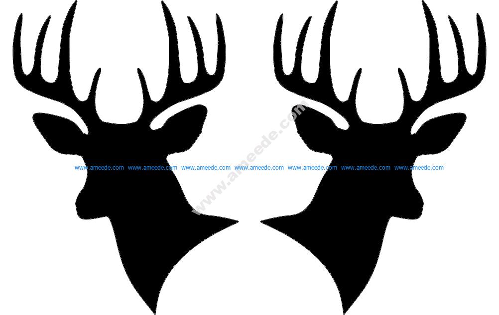 Two Deer Heads Silhouette