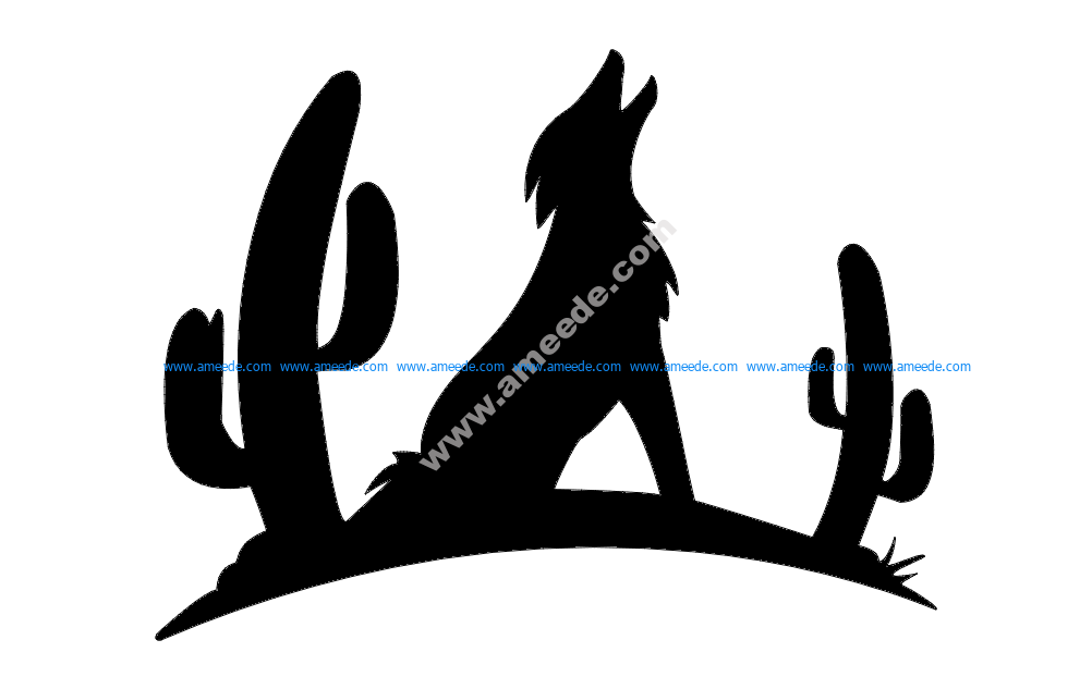 Coyote with Cactus Silhouette