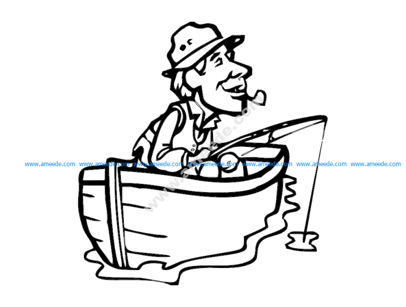 Fisherman with Cigar in boat