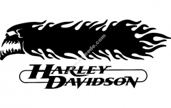 Harley Davidson Skull And flames 3d