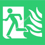high safety fire exit symbol with flames left sign