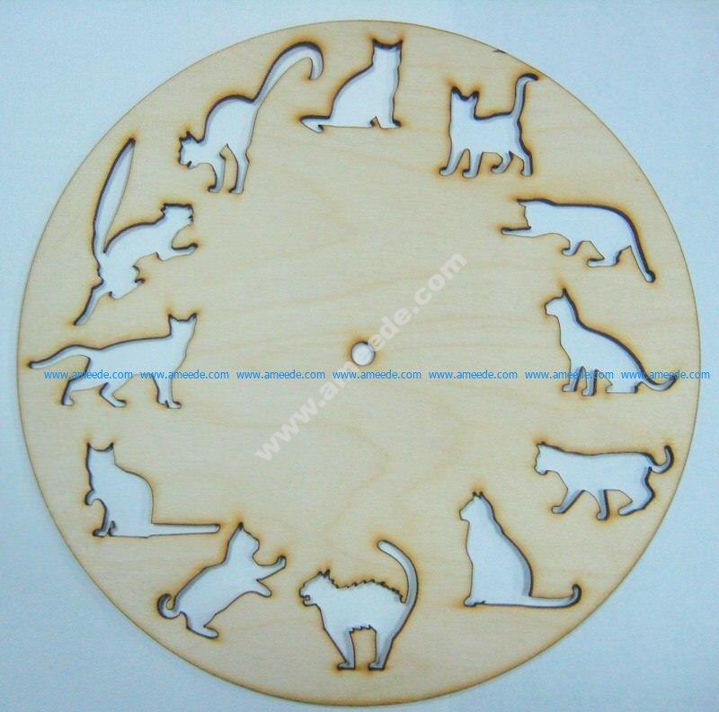 12 Cats Clock