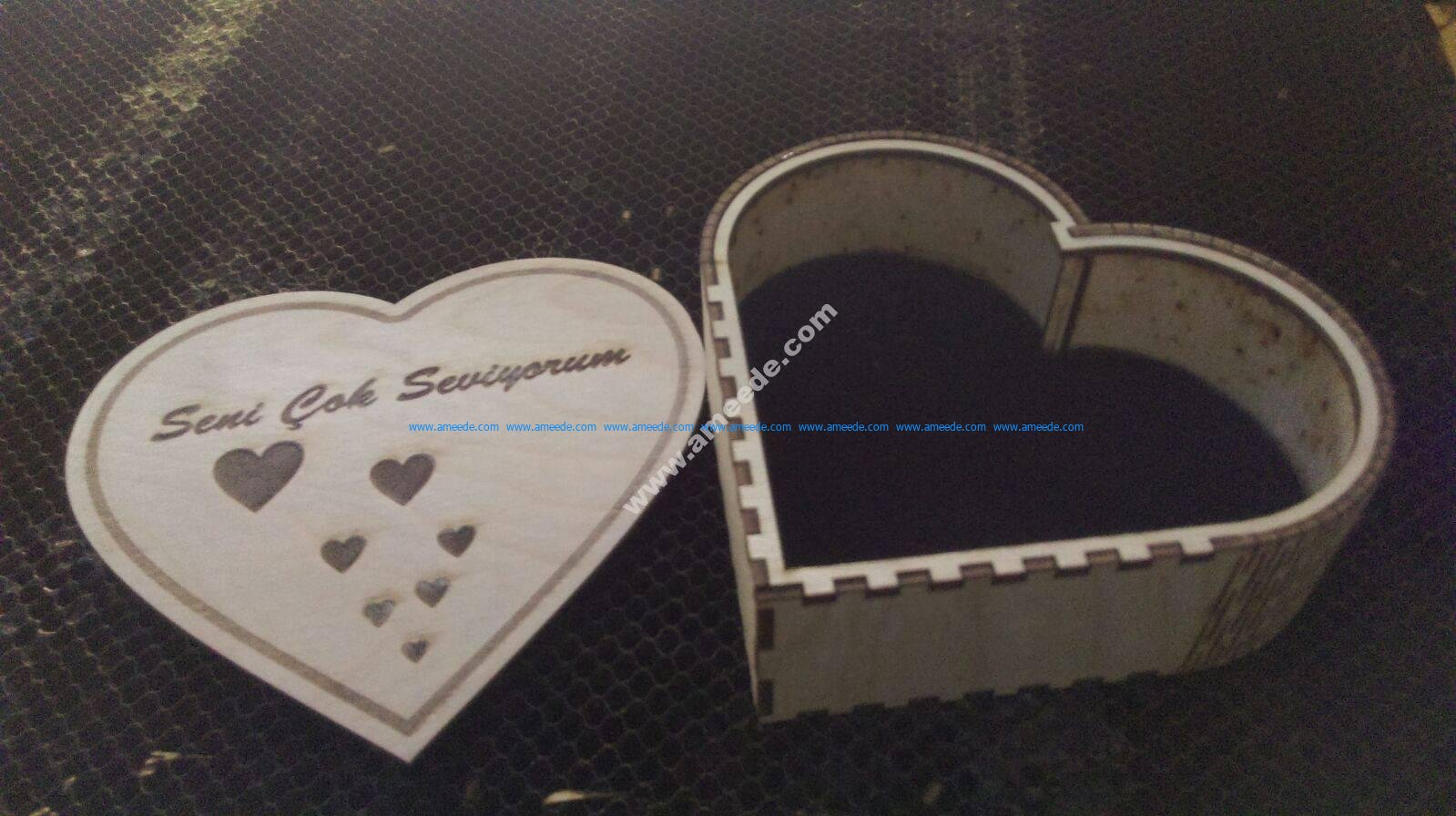 14cm iç Kalp Kutu
