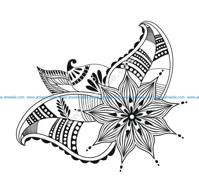 Abstract flowers. Doodle flower vector art
