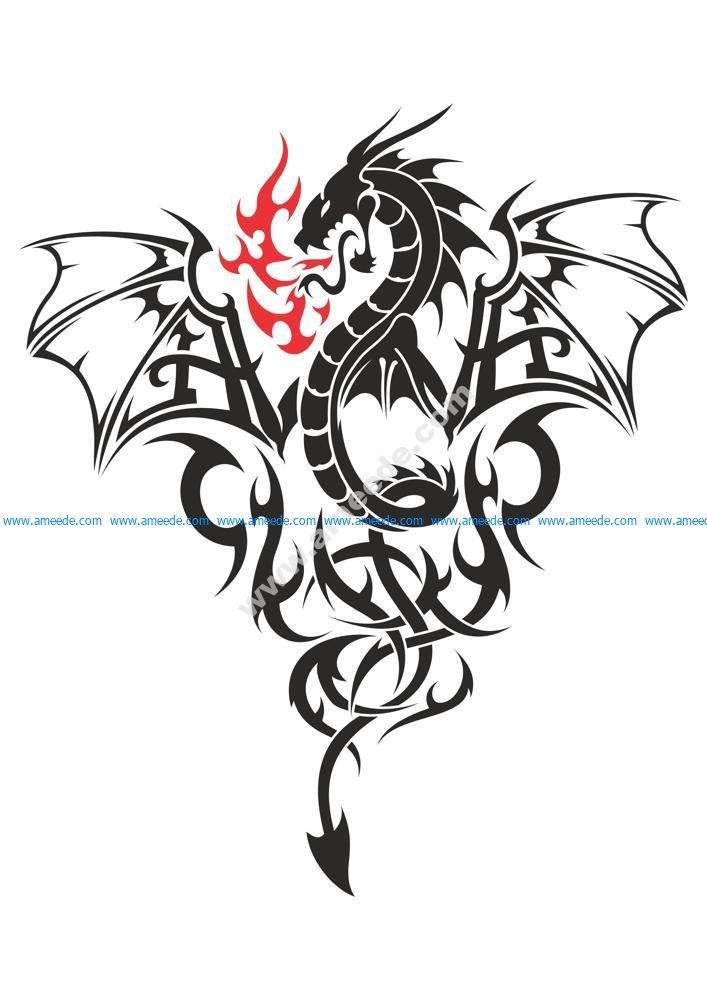 Baby Dragon Tattoo Vector