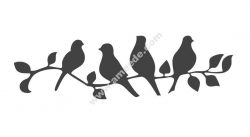 Beautiful Birds on a Branch Stencil Vector