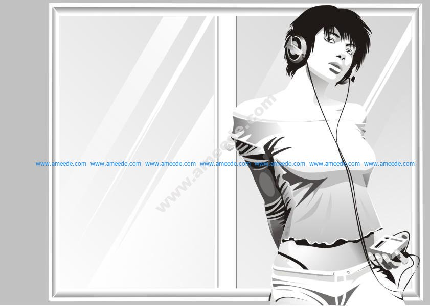 Beauty Woman Listening To Music Vector