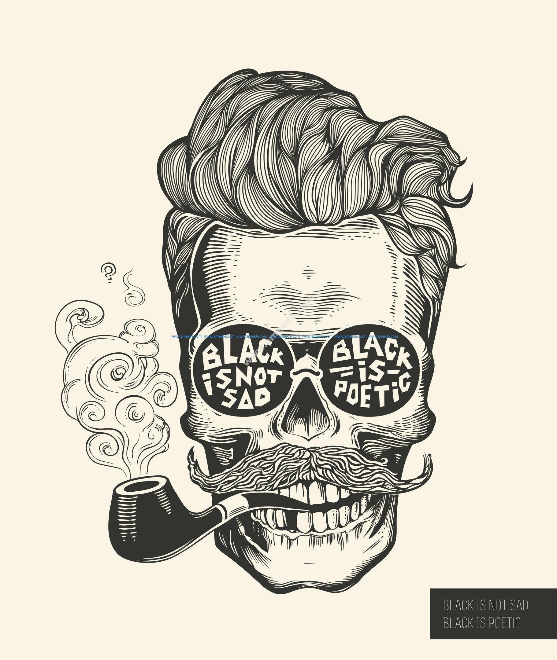 Black Is Not Sad Hipster skull silhouette Vector
