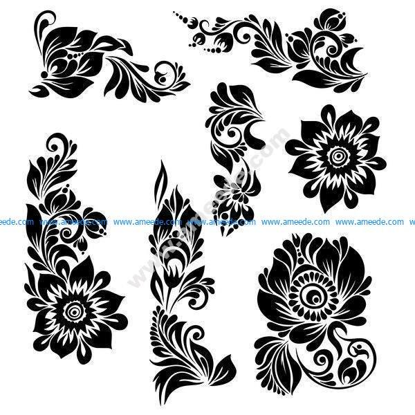 Black Ornaments Floral Vector Illustration