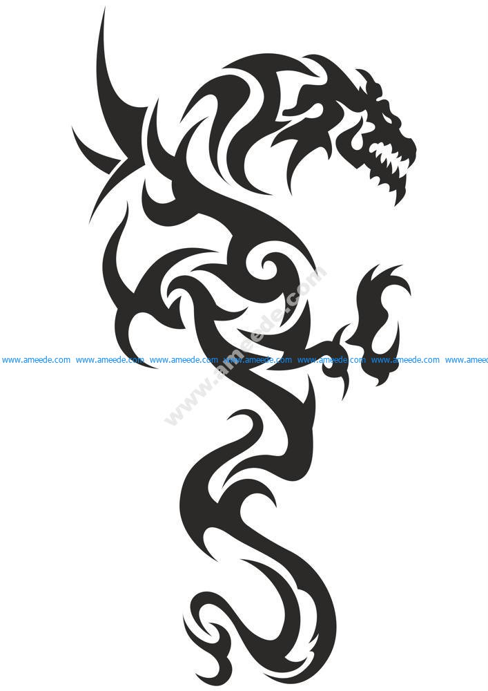 Black and white tattoo Dragon Vector