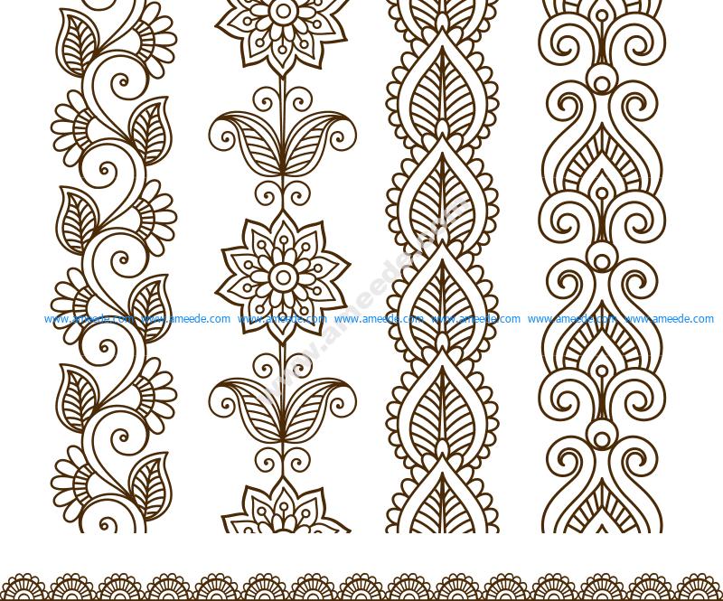 Border elements in Indian mehndi style