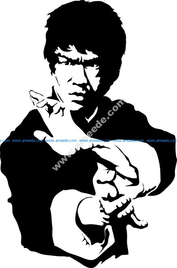 Bruce Lee Black and white vector