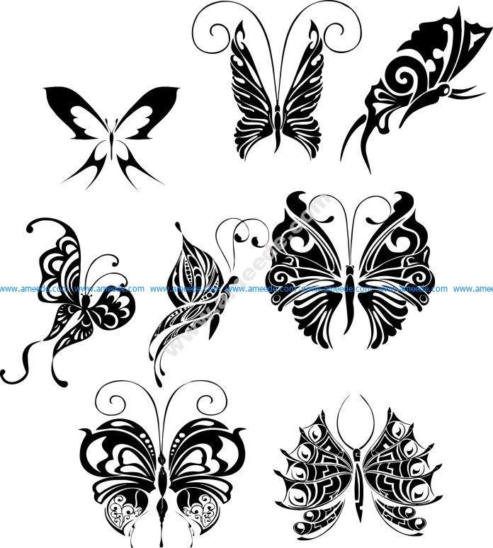 Butterfly Tattoo Design Vectors Art