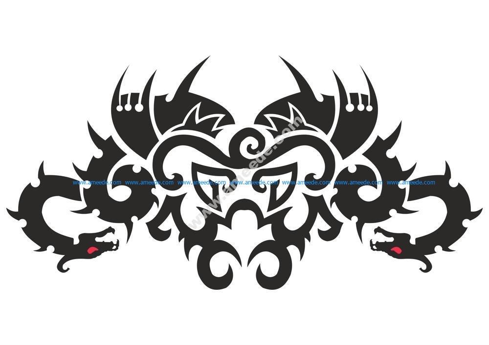 5fbee6b23 Car Hood Decal Dragon Animal Murals Predator Tribal Tattoo Vector ...