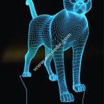 Cat 3D Lamp Vector Model