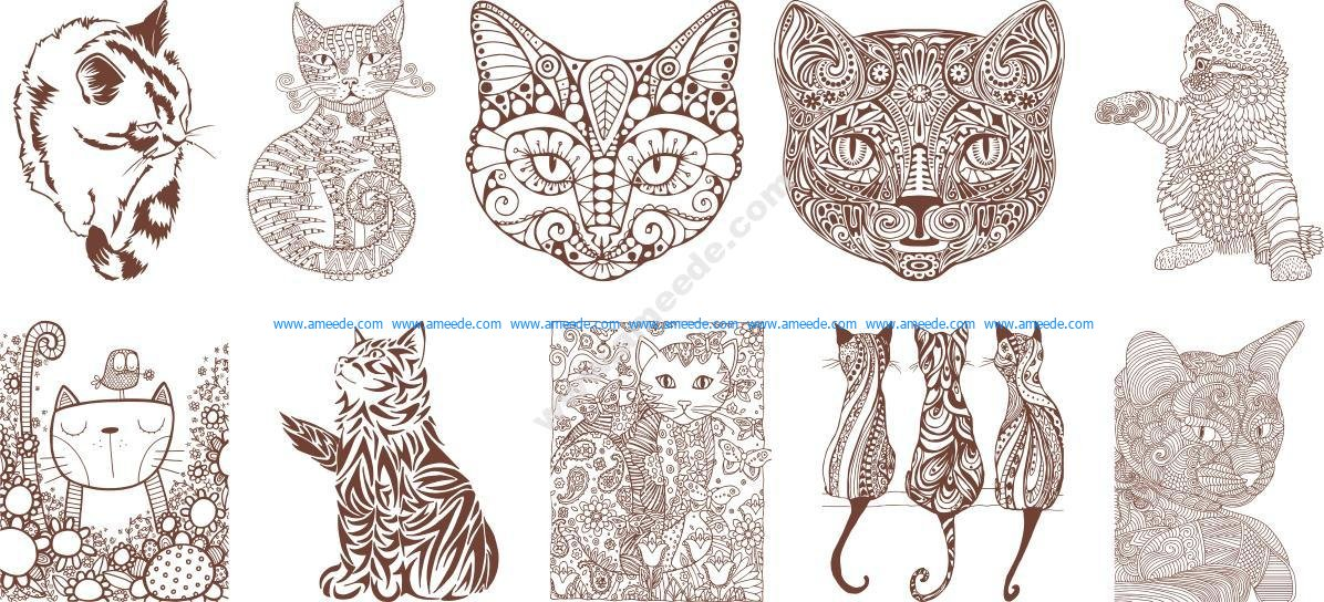 Cat Sugar Skull Vectors