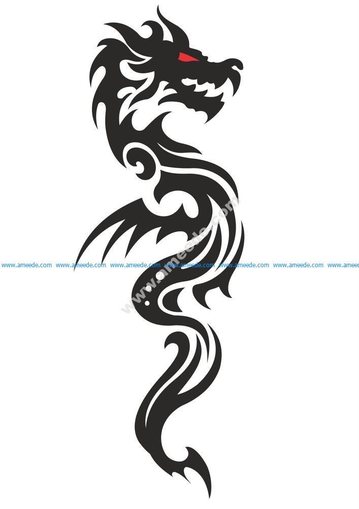 Cool Tribal Dragon Tattoo