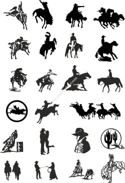 Cowboy silhouette vector set