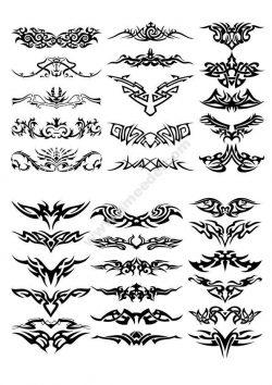 Creative Horizontal Tattoo Set vector
