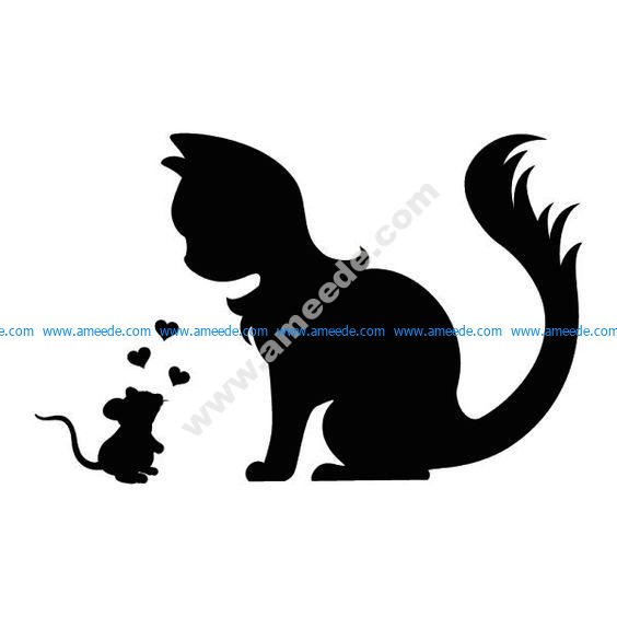 Cute wall tattoo mouse and cat in love silhouette