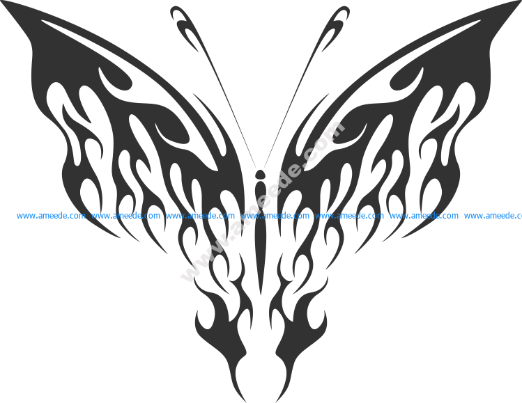 Decorative ornamental butterfly silhouette