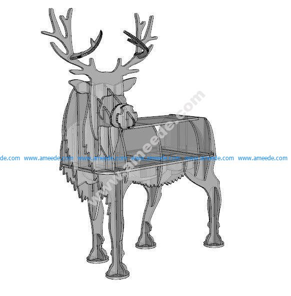 Deer 2D animals design plan 10mm