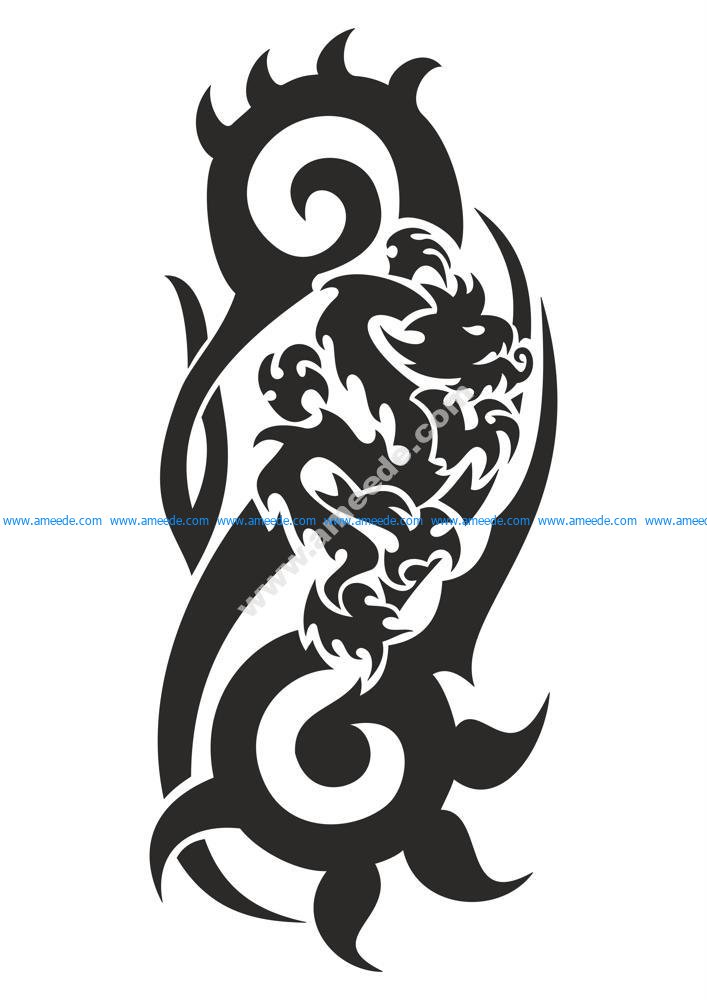Dragon Black And White Vector