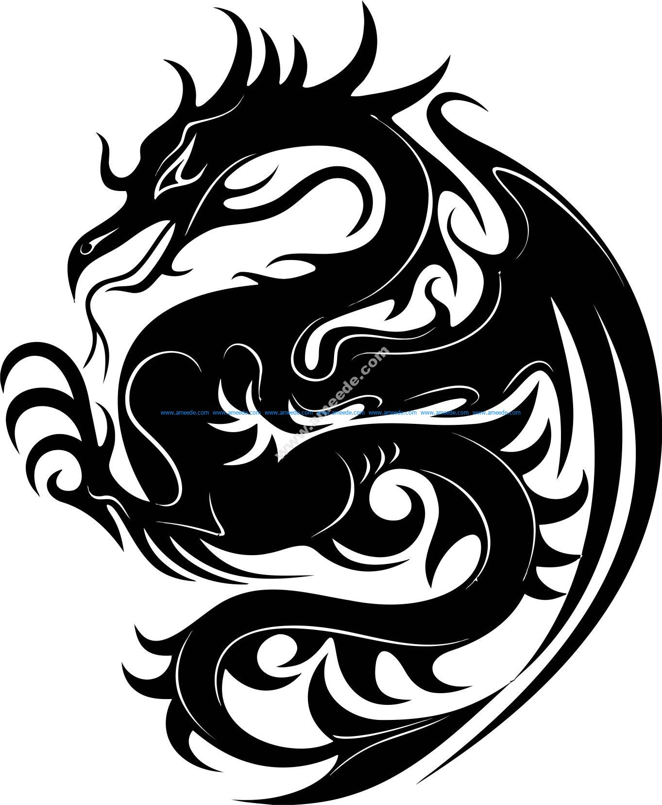Dragon Stencil Vector