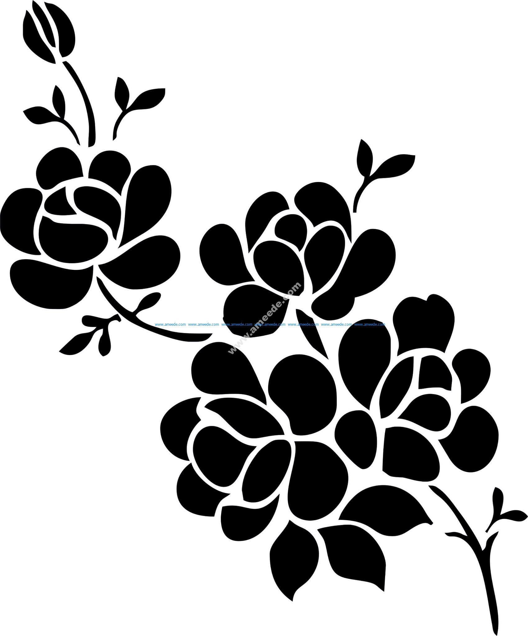Elegant Black And White Flower Vector Art jpg