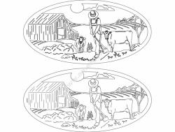Farm Scene Oval Insert 1.7