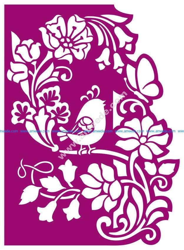 Floral panel with bird cnc router laser cutting