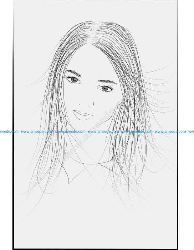 Girl Face Vector Art