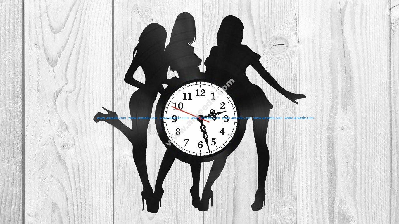 Girls silhouette vinyl record clock